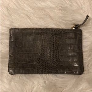 Clare V. Croco embossed Taupe Wallet Clutch